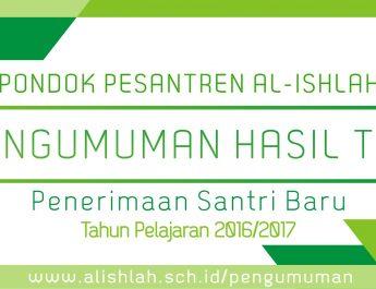 Pengumuman Hasil Tes PSB Al-Ishlah 2016/2017